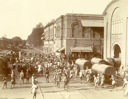 Native Workmen leaving Workshops after work [Jamalpur Railway Workshops].